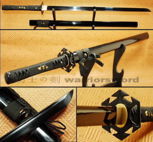41Japanese Ninja sword Full Tang 1060 Black Blade Sharp Handmade Sword N26841Japanese Ninja sword Full Tang 1060 Black Blade Sharp Handmade Sword N268