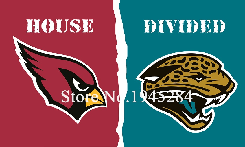 NFL Arizona Cardinals Jacksonville Jaguars House Divided Flag 3x5ft 150x90cm Polyester Flag Banner, free shipping