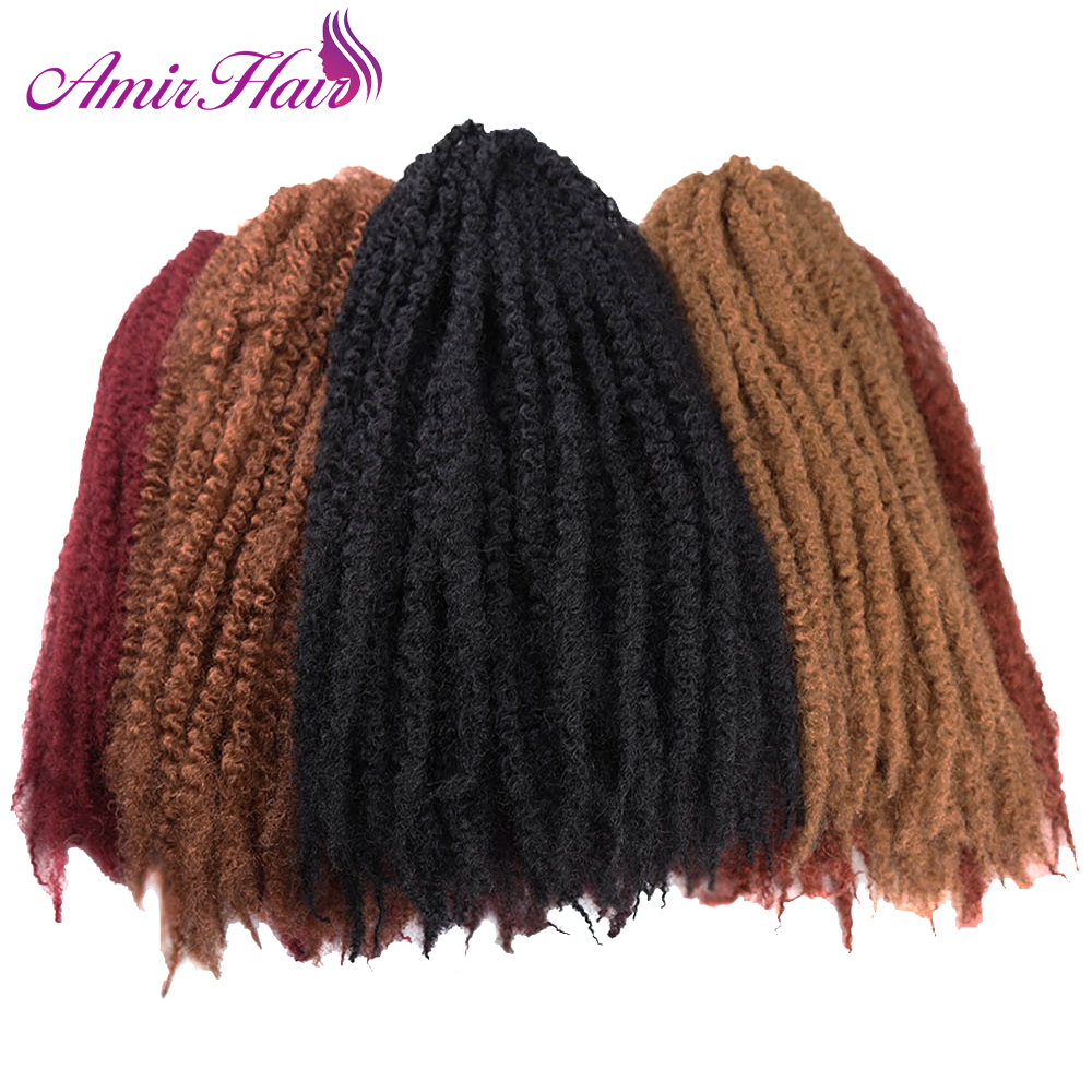 Amir Hair 9 packs 18inch Synthetic Marley braids with Ombre red brown and black crochet braiding hair extensions