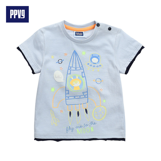 PPVG Baby Boy T Shirt Short Sleeves For Children's O Neck T-shirts baby Clothes 2017 Summer New Style Hot Sale Free Shipping