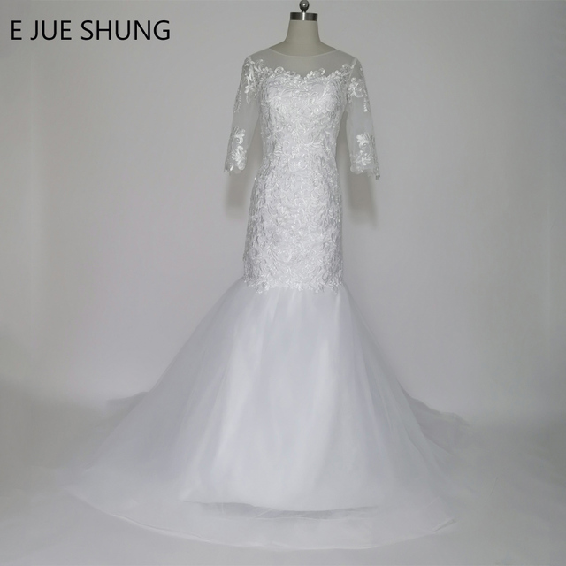 E JUE SHUNG White Lace Appliques Cheap Mermaid Wedding Dresses 2017 Up Back 3