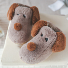 Lovely Dog Fur Slippers Winter Plus Size 43-44 Suede Home For Girls Short Plush Rubber Shoes Woman Walking