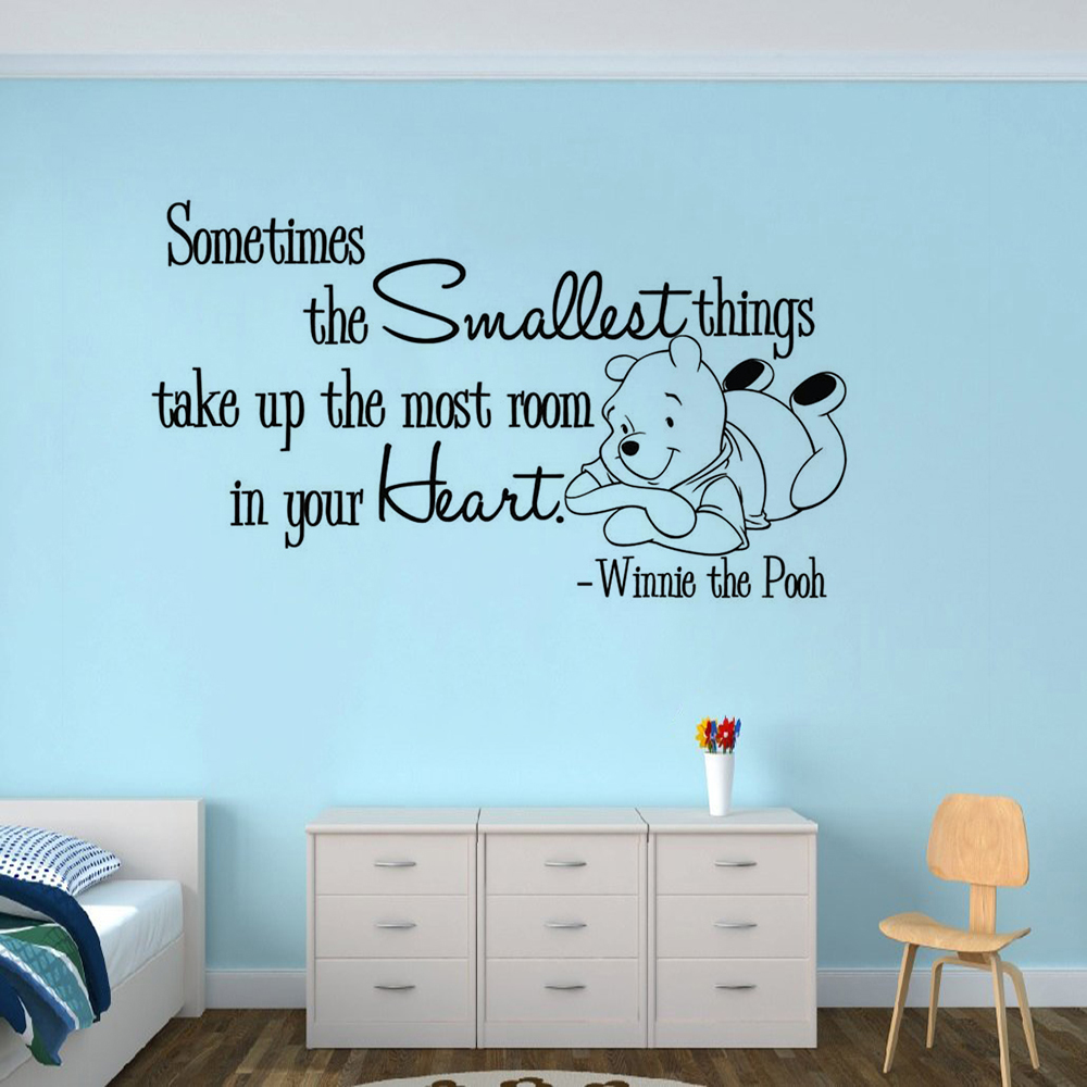 Us 6 87 25 Off Nursery Decor Winnie The Pooh Saying Wall Decal Baby Bear Theme Sticker Inspiring Quote Mural Kids Room Decals Ay1702 In