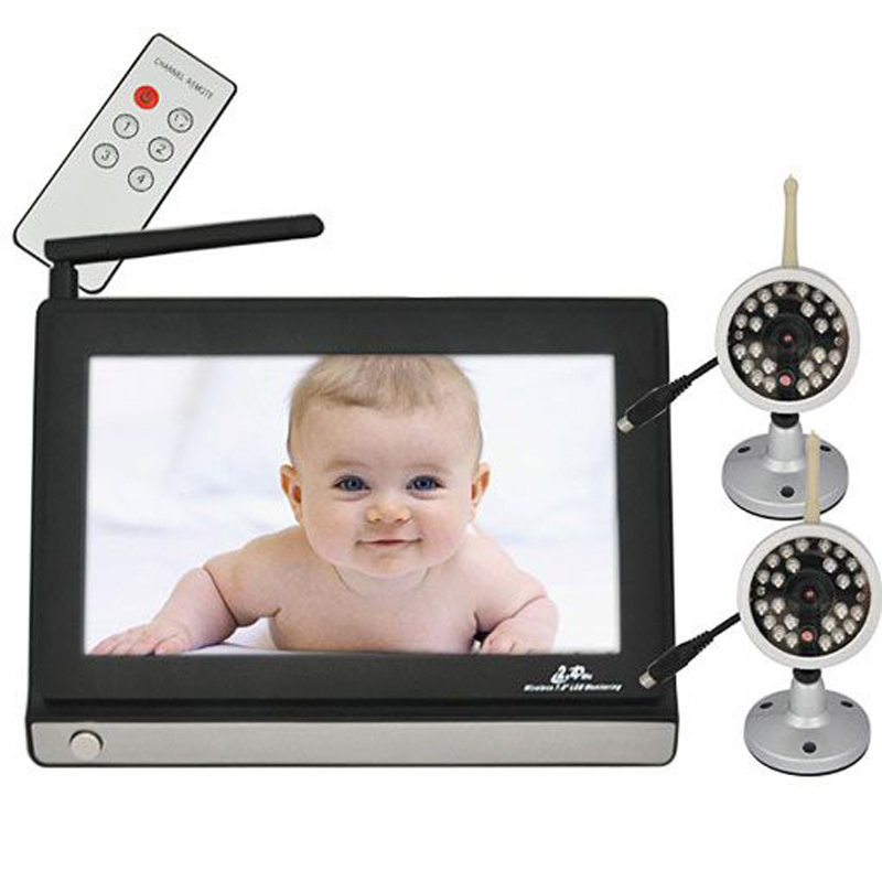 7 tft lcd 2 4ghz wireless video baby monitor with 2 cameras ir night v. Black Bedroom Furniture Sets. Home Design Ideas