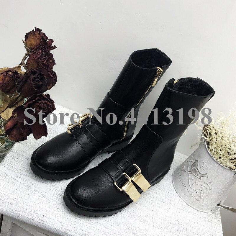 Tacón Negro Casuales Zip Cuadrado Hebilla Moda De Redonda Corto Mujeres Zapatos becerro Metal Nueva Punta Botas De Mujer Para TYq65wSZw
