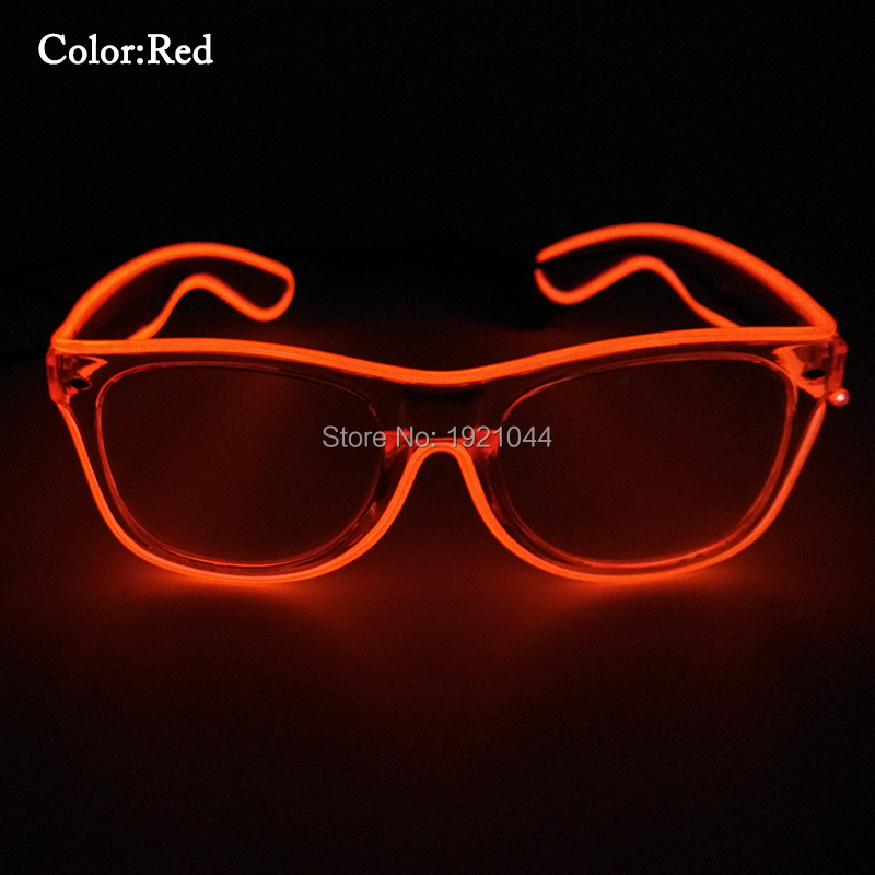 Free Shipping Red Colorful Glowing Classic Toys for Dance Party EL Wire Glasses with Sound activated Inverter for Party Supplies