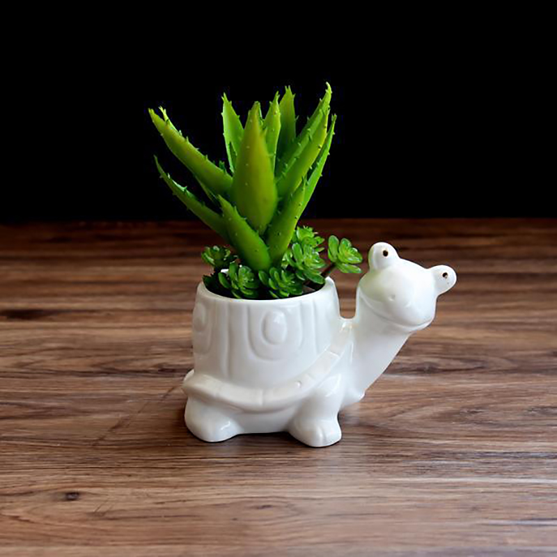 1pc Tortoise Cartoon Turtle White Ceramic Planter For