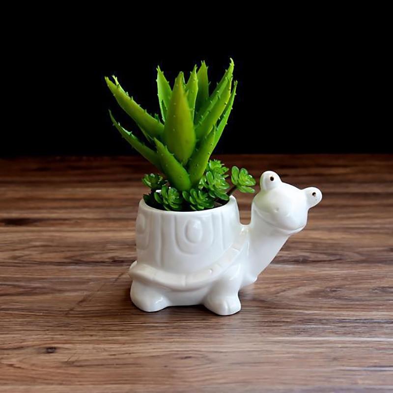 1pc Tortoise Cartoon Turtle White Ceramic Planter For