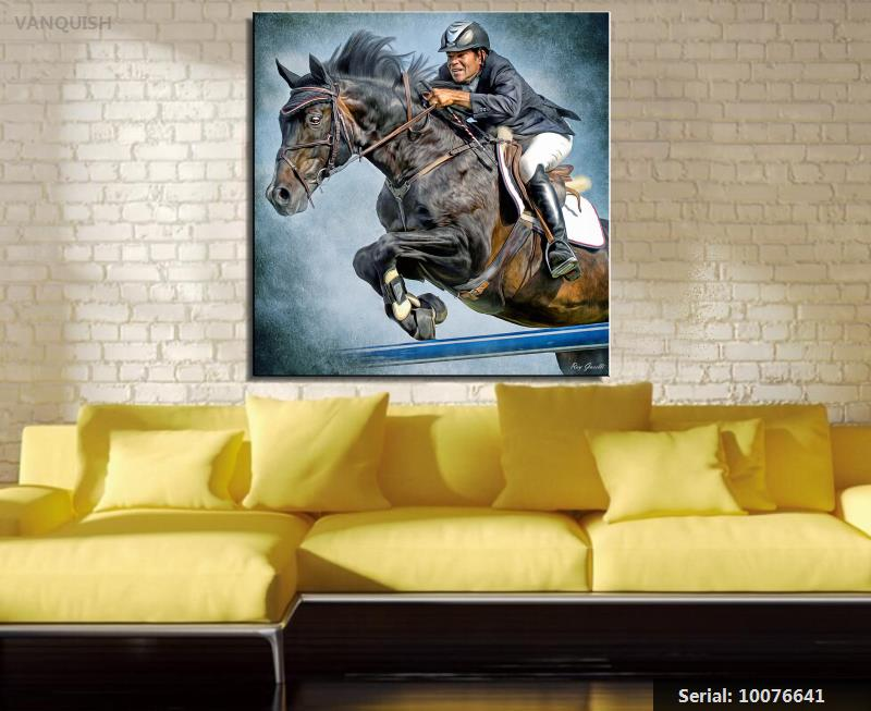 White and Black Chinese Style Horse Wall Art Modern Canvas Painting ...