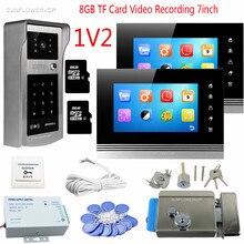 Video Doorbell Rfid Code Panel Video Intercom 2 Monitors 7inch Color 8GB TF Video Recording Video Doorphones With Eletronic Lock