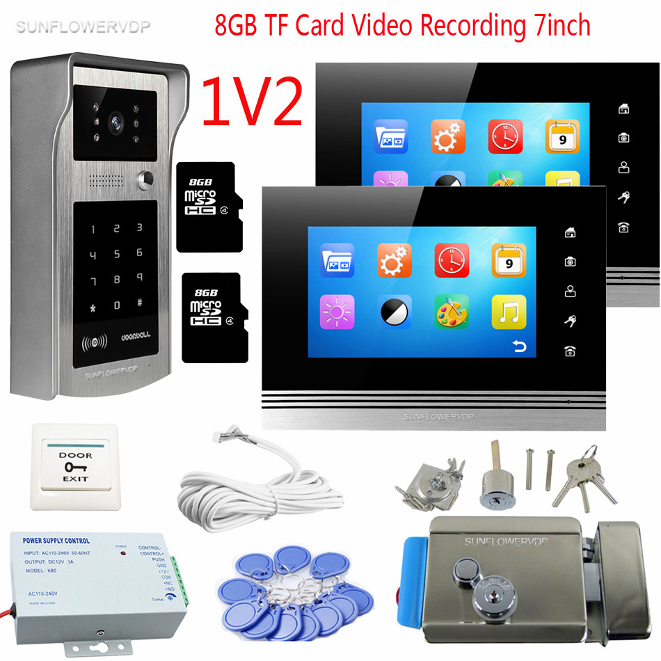 Video Doorbell Rfid Code Panel Video Intercom 2 Monitors 7inch Color 8GB TF Video Recording Video Doorphones With Eletronic Lock color ring inductance 0307 3 9uh a03073r9 color code 20