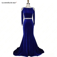 Gala jurken2019 new Scoop neck VELOUR crystal long sleeve sexy mermaid royal blue prom dresses long dubai evening dress real pho
