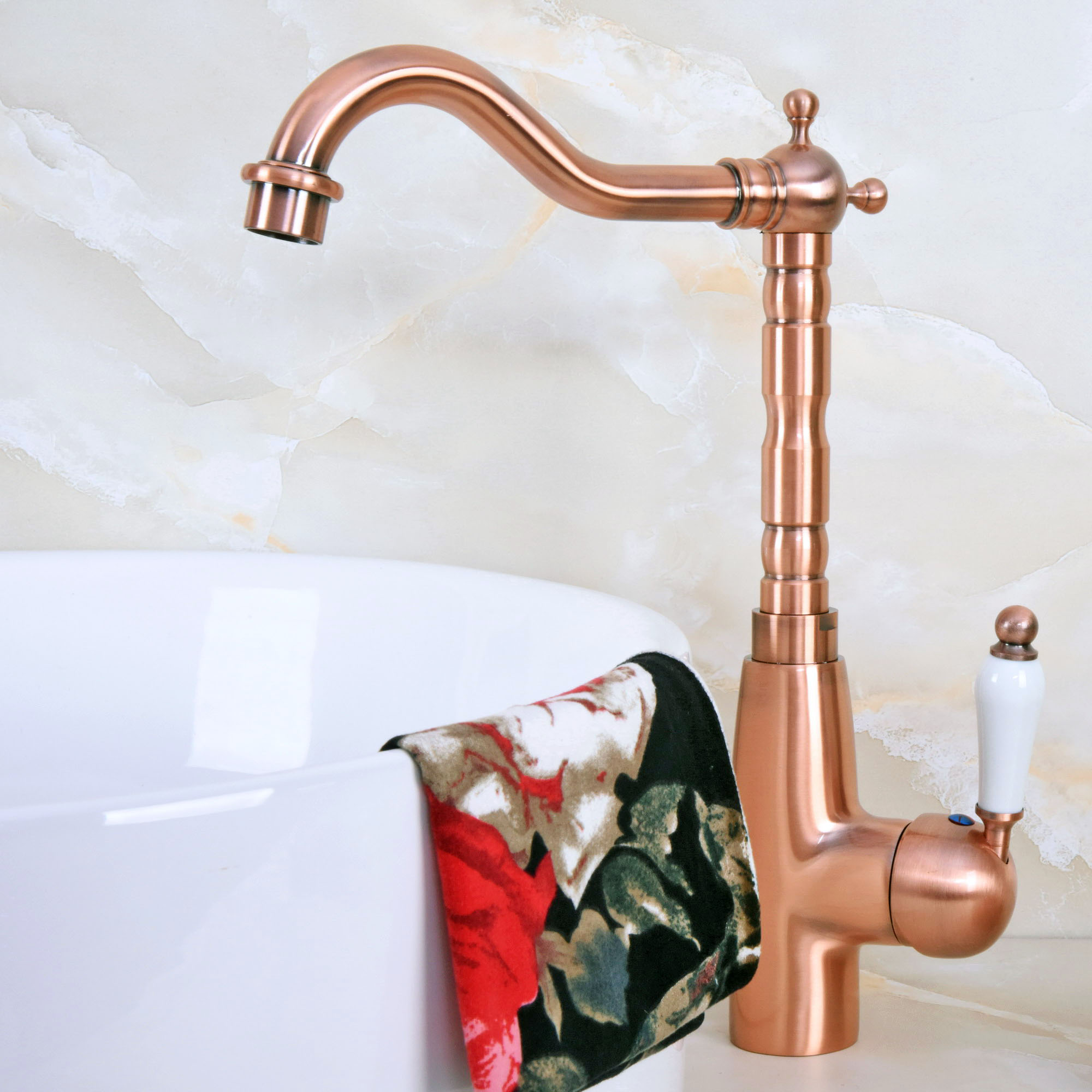 Antique Red Copper Brass Single Ceramic Handle Bathroom Kitchen Basin Sink Faucet Mixer Tap Swivel Spout Deck Mounted Mnf637