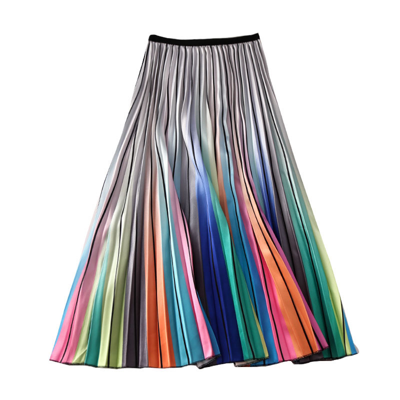 Women's Rainbow Skirts Striped Laser Print European Summer Printing High Waist A-line Big Swing Pleated Midi Skirts Female SP528
