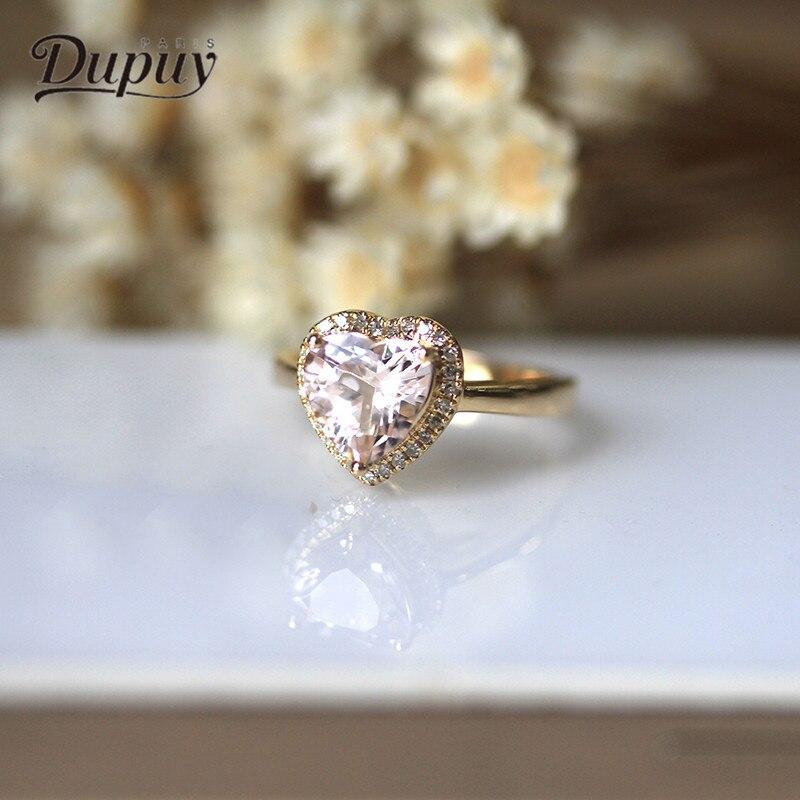 Дюпюи сердце Обручение кольцо 8 мм 1.7ct в форме сердца морганит кольцо модные в форме сердца Женская Diamond Обручение кольцо d180082