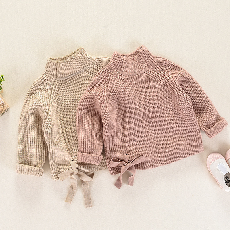 2017 Autumn Winter New Round Collar Kids Girls Sweater with Big Bow Tie Children Clothing Baby Girl Cotton Knitted Top Pullover exaggerate bow tie neck ruffle trim top