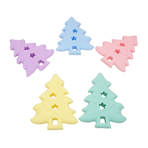 Chenkai 10PCS Baby Silicone Christmas Tree Teether Baby Shower Pacifier Teething Toy BPA Free Dummy Teether Toy Accessories