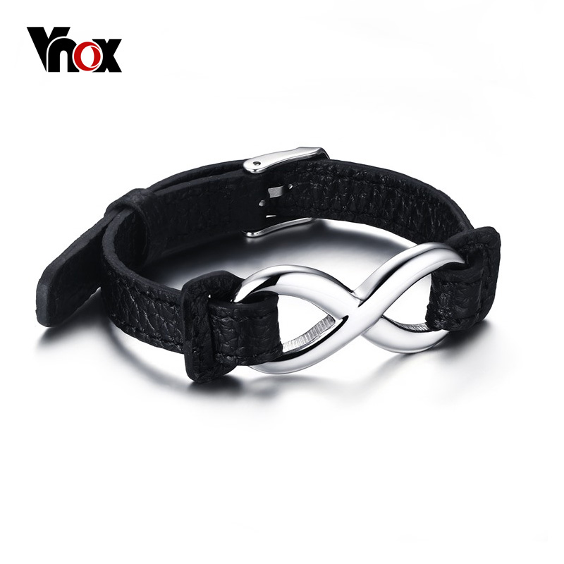 VNOX Black Genuine Leather Infinity Sign Wrap Wrist Band Rops