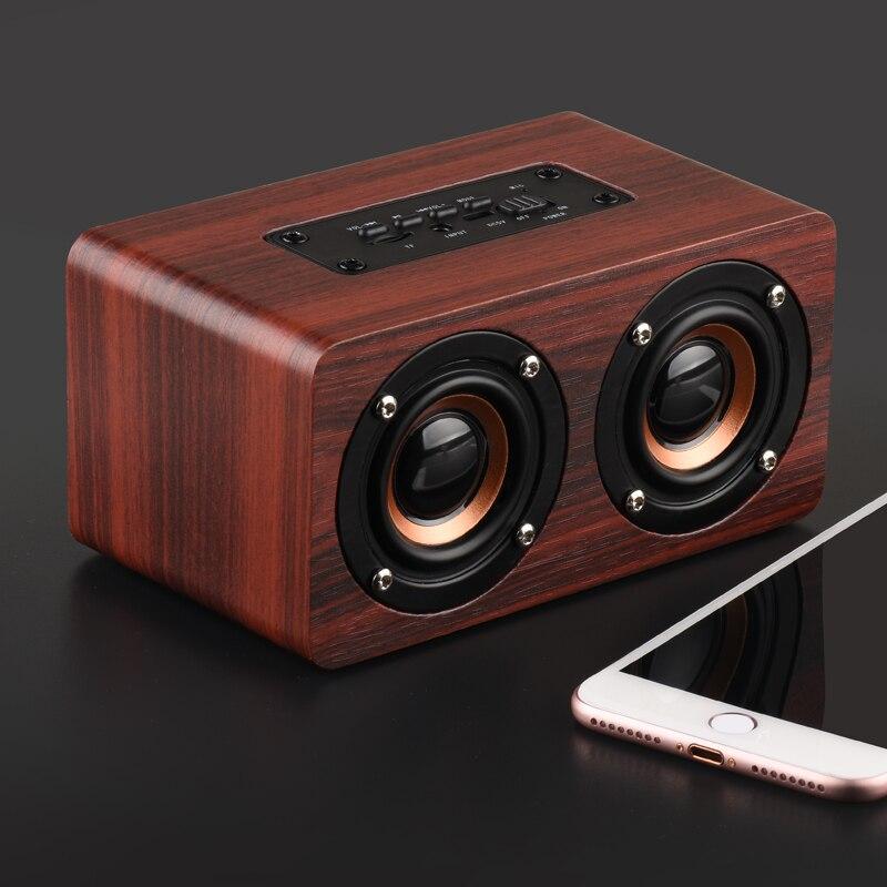 HOT-Retro Wooden Bluetooth Speaker HIFI Wireless Dual Loudspeakers 3D Surround Speaker 3