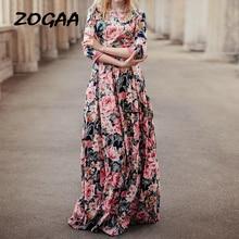 ZOGAA Bohemian Style Floral Long Women Dress O-neck Three Quarter Sleeve Printed Big Hem Elegant Party Vestidos De