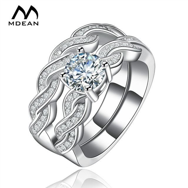 mdean white gold color ring sets for women engagement women rings bijoux vintage wedding ring sets - Vintage Wedding Ring Set