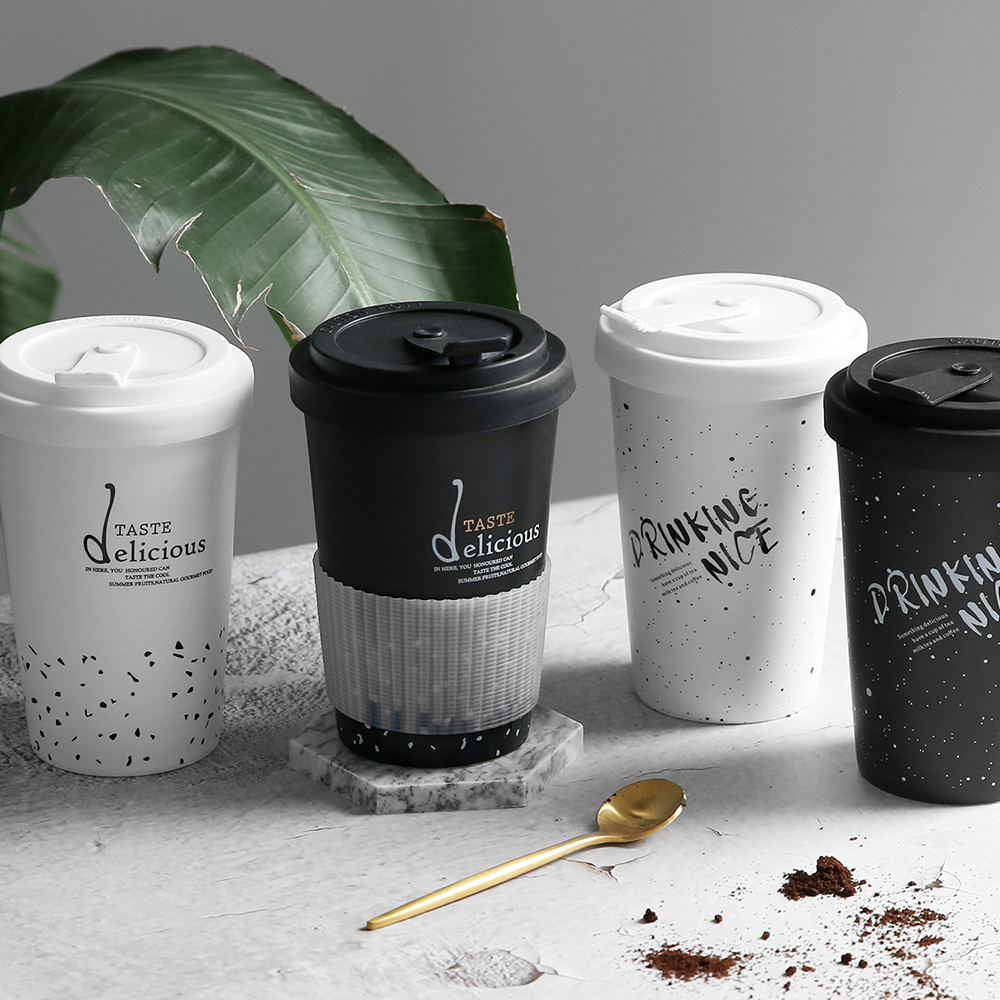 Creative Ceramics Mugs Black White Letter Pattern Silicone Lid Milk Coffee Tea Portable Cups Household Office Drinkware 450ML lid