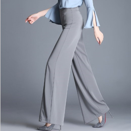 6XL OL Work   Pants   Women Loose   Wide     Leg     Pants   Womens Sheer Suit   Pants   Trousers Fashion High Waist Culottes Black Gray Red Green