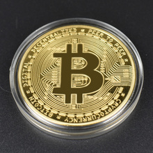 1pcs Hot sale Cheap Gold BItcoin Coin with Plastic shell Bit BTC Cryptocurrency Physical metal coin for Colllection