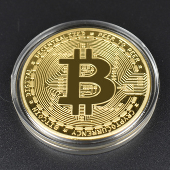 1pcs Hot sale Cheap Gold BItcoin Coin with Plastic shell Bit Coin BTC Cryptocurrency Physical metal coin for Colllection