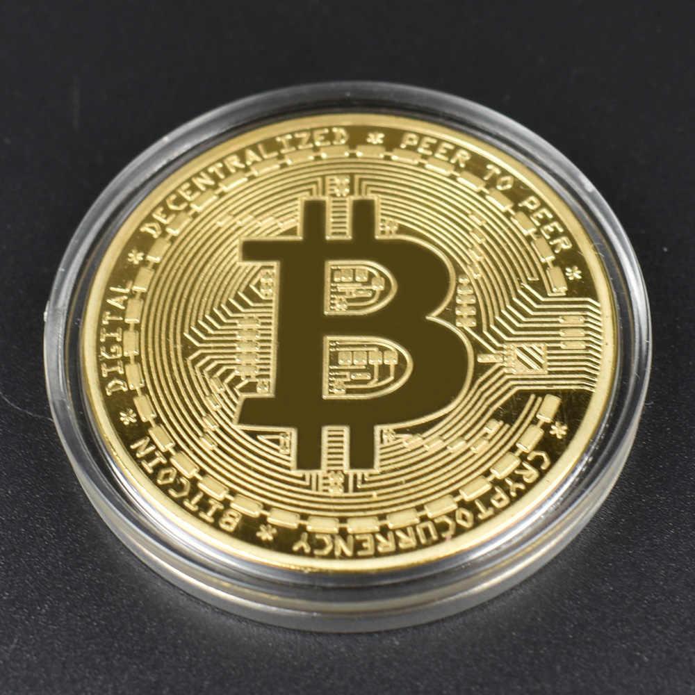 1pcs vendita Calda A Buon Mercato Oro BItcoin Moneta con guscio di Plastica Bit Moneta BTC Cryptocurrency Fisica moneta in metallo per Colllection