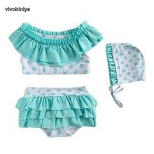 VIVOBINIYA/ ; детский купальный костюм для маленьких девочек; UPF50+ бикини в горошек; детский купальный костюм; Детский комплект из 3 предметов; летняя одежда
