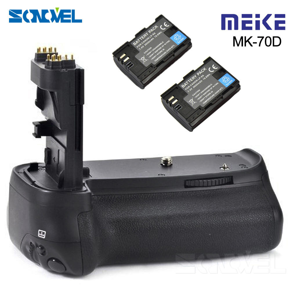 Meike MK-70D Vertical Battery Grip Holder with 2x LP-E6 Battery For Canon EOS 70D 80D DSLR Camera as BG-E14 battery hand handle grip holder 2 step vertical power shutter for nikon d200 dslr camera as mb d200 2 x en el3e car charger