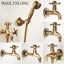BAOLINLONG Antique Brass Single Cold Water Faucet Laundry Utility Mop Pool Bathroom Tap Finish