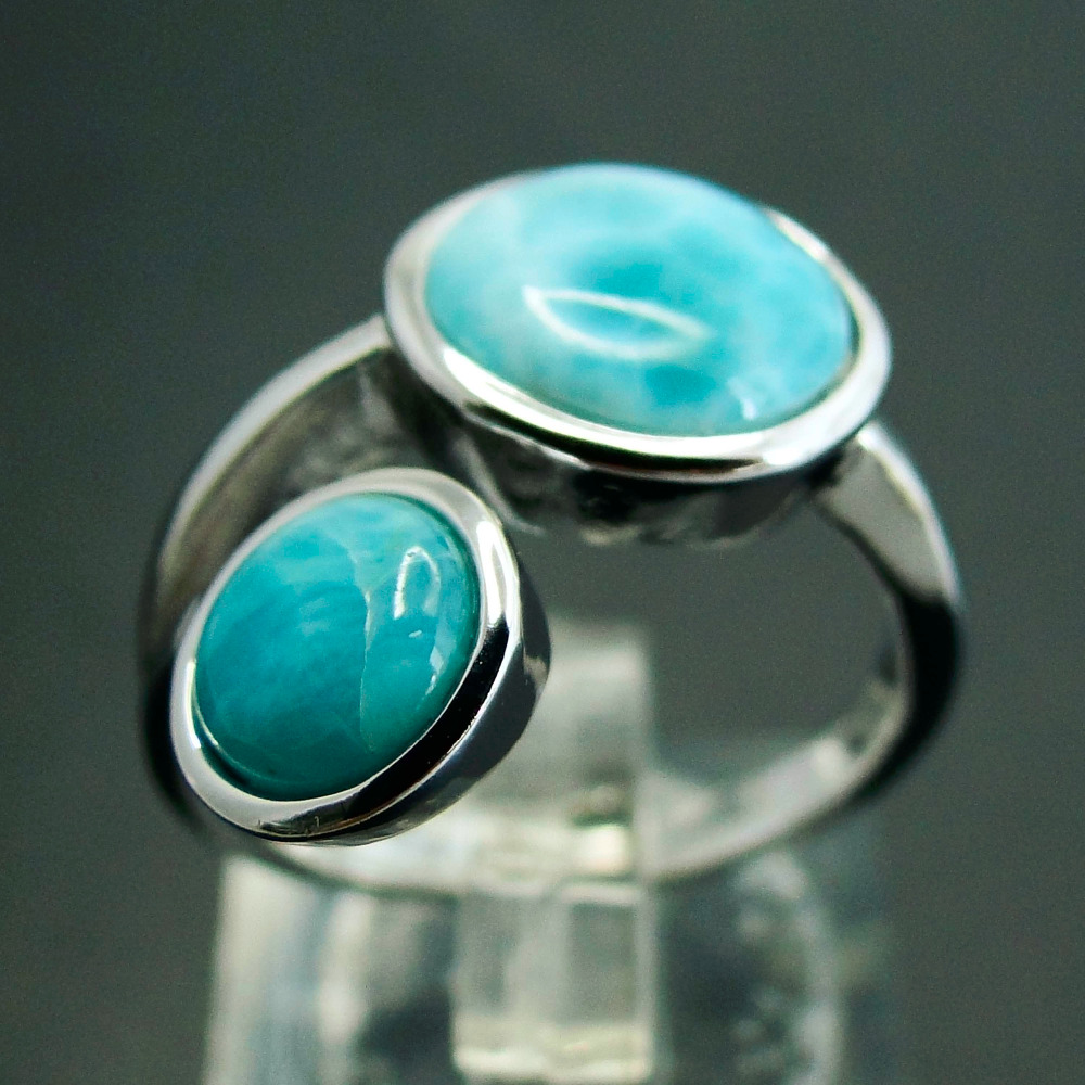 Lovely Round Stone Rings in Solid 925 Sterling Silver Fashion Jewelry Rings Genuine Larimar Jewelry Rings браслеты lovely jewelry браслет