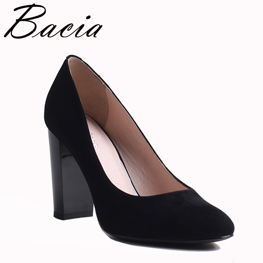 d9a6f9877c9 Bacia Sheep Suede Pumps Black 9.1cm Thick Heels Women Genuine Leather High  Heel Shoes Round Toe Size 34-41 Quality Pumps VXB009
