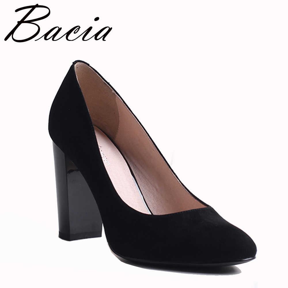 b4eb1edf9 Bacia/замшевые туфли-лодочки из овечьей кожи черного цвета на толстом  каблуке 9,