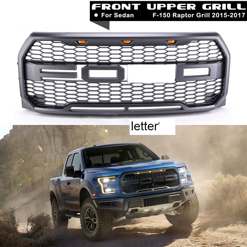 4Pcs Car Racing Grille For Ford F150 Raptor 2015 2017 2016 Grill Logo Mesh Radiator ABS Front Bumper Lower Modify Mask With LED
