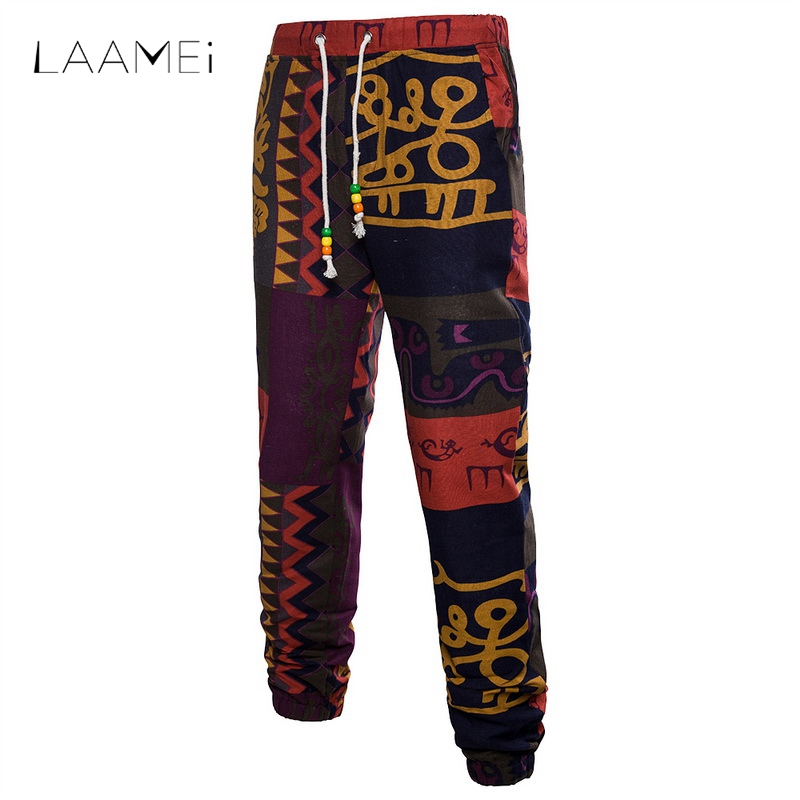Laamei Men Joggers Trouser Pants Men Casual Summer 3D Floral Printed Sweatpants Linen Fitness Pants Loose Full Tie  Fashion