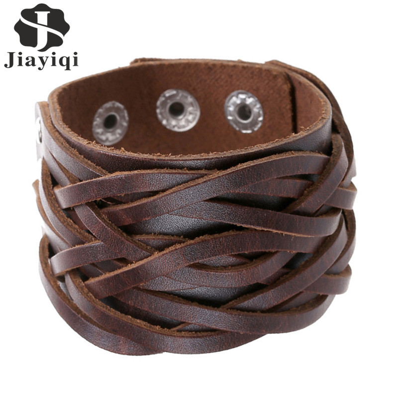 Jiayiqi New 3 Colors Genuine Leather Bracelets Punk Wide Cuff Bracelets & Bangles for Women Men Jewelry Accessories Wristband