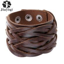 Jiayiqi New 3 Colors Genuine Leather Bracelets Punk Wide Cuff Bracelets & Bangles for Women Men Jewelry Accessories Wristband