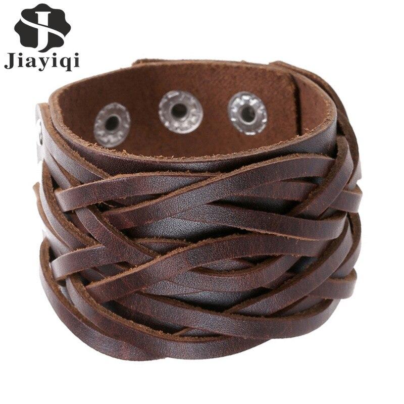 145280728c6a Detalle Comentarios Preguntas sobre Jiayiqi nueva 3 colores Cuero auténtico  pulseras punk ancho Brazaletes de puño y Brazaletes para las mujeres hombres  ...