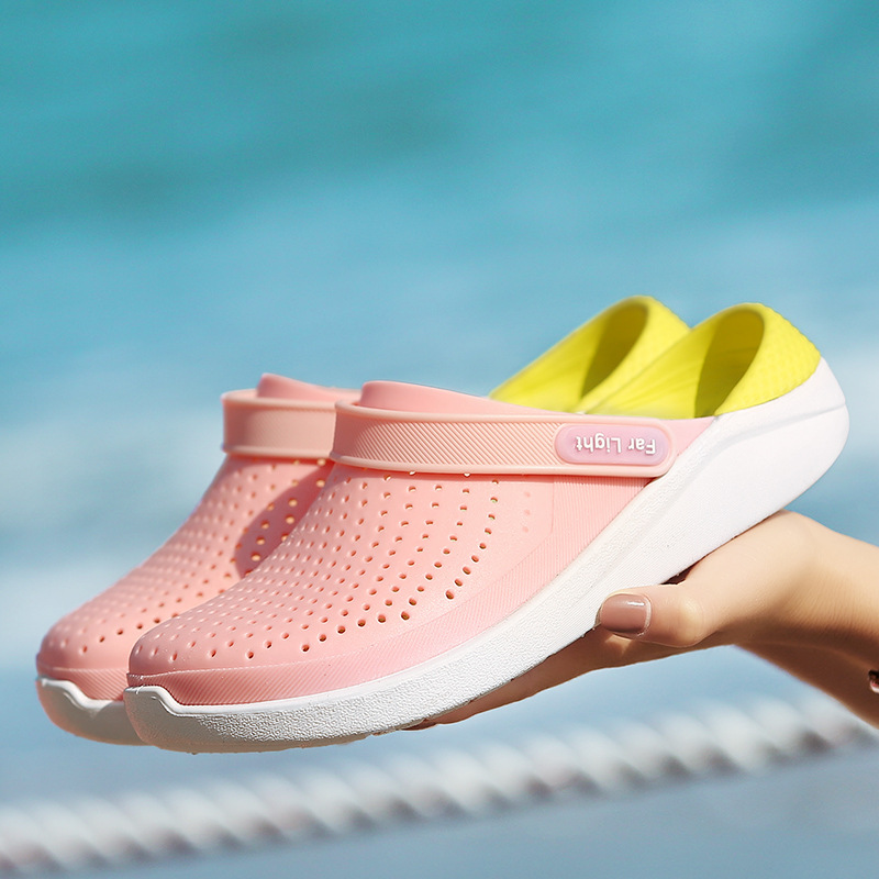 UPUPER Summer Couple Sandals Men EVA Jelly Shoes Breathable Slippers Candy Colors Flat Beach Shoes For Vacation Unisex