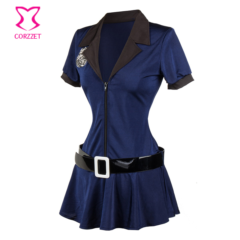 Blue Sexy Policewoman Costume Halloween Cosplay Cop Dress Outfit Police Officer Uniform Plus Size Costumes For Women Adults 3XL in Sexy Costumes from Novelty Special Use