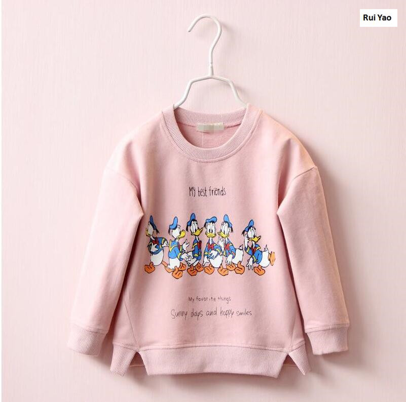 YWGP1894628 2017 New Autumn Baby Girl Top Print Character Catoon Toddler Girl Tees Fashion Girls Clothes Casual Kids Top