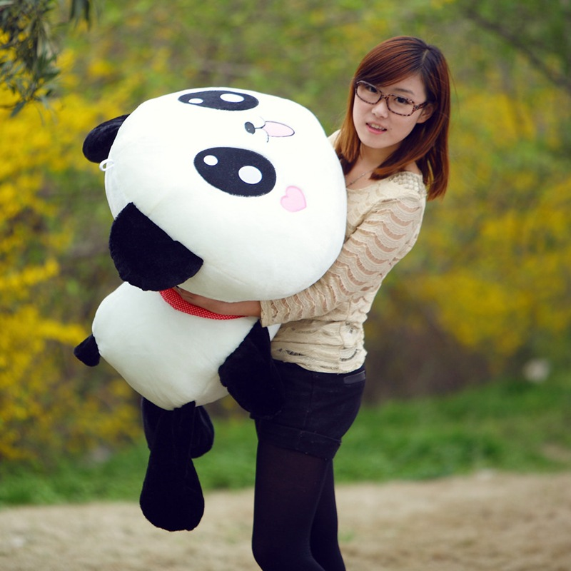 large about 100cm prone panda plush toy, soft throw pillow birthday gift w5205 cartoon glasses panda in yellow cloth large 70cm plush toy panda doll soft pillow christmas birthday gift x031