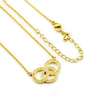 Bohemia Jewelry Gold Color Cubic Zirconia Interlocking Circles Pendant Necklaces Simple Entwined Round Necklace For Women Girls image