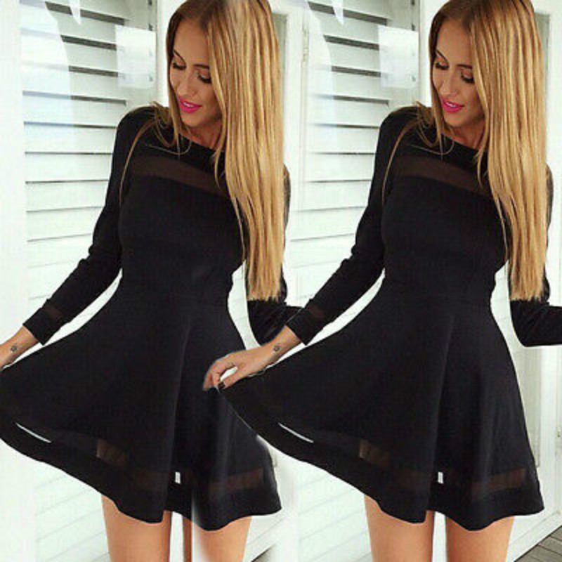 2016 New Fashion Women Bandage Bodycon Chiffon Mini Dress Long Sleeve Evening Sexy Party Hot  Mini Dress
