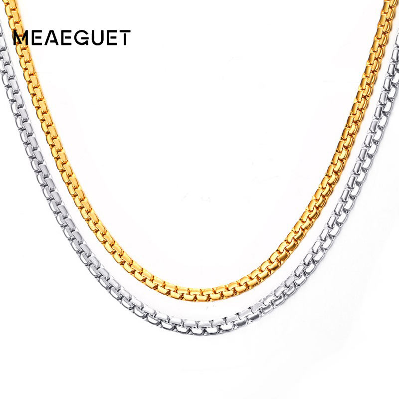 Meaeguet Gold-color Stainless Steel Flat Box Chain Necklaces Rock Men Link Chain Hip Hop Party Jewelry 24