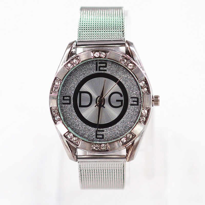 Zegarek damski nuevo Reloj de marca de moda DQG Reloj de cuarzo de cristal de lujo para mujeres relojes de oro y plata inoxidable para damas Reloj de vestir Reloj