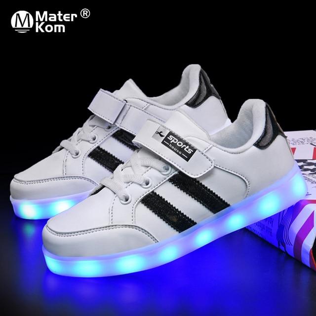 حجم 25 37 متوهجة مضيئة أحذية رياضية LED أحذية للبنين بنات تضيء الأطفال حذاء كاجوال USB تهمة Krasovki مع الخلفية